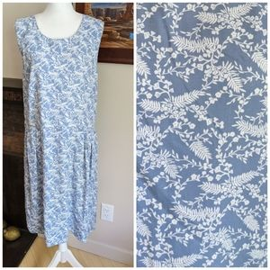 NEW Christopher &Banks XL Blue Vines Pleated Dress